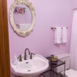 purple colored bathroom